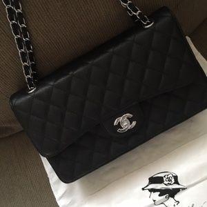 Caviar Large Sz Double Flag Bag
